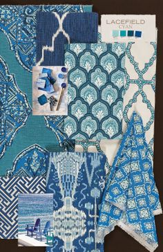 Textile Tuesday: Cyan Textile Collection  New Colorway from Lacefield #designingwomen #southernmade #blue #textiledesigner #blockprint