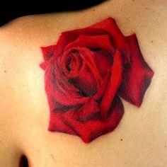 Rose Shoulder Tattoo by Tiffany Garcia