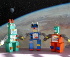 Robots made of candy boxes