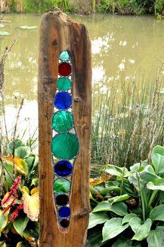 Louise Durham garden sculpture ideas, driftwood garden, garden ideas, stained glass sculpture, stained glass garden, garden art sculptures, garden embellish, garden centres, driftwood sculpture