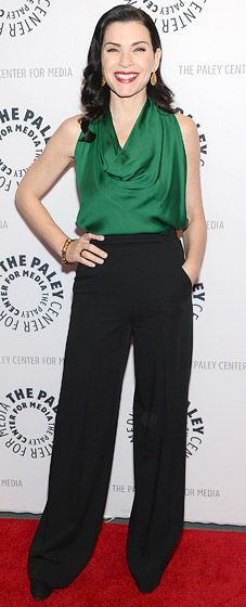 Julianna Margulies green cowl neck blouse with black wide leg pants