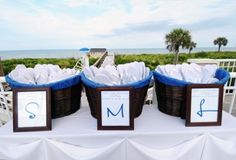 Heels Off - Flip flops for wedding guests: This bride decided to put the different sizes in different baskets. Great idea!