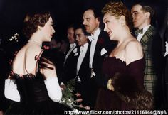 "bukovscan016:  .Princess Margaret talks with Gloria Swanson after the premiere of film ""Mudlark"" , October 1950"