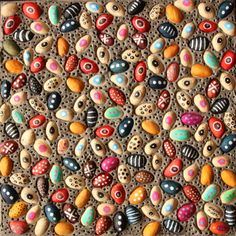 multicolored collage made of pistachio shells by bicocacolors