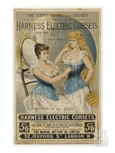 Wish more lingerie stores displays ads like those so we could see how far we've come  Advertisement for Harness's Electric Corset Giclee Print at Art.com