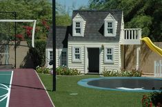To play outside, in ground trampoline, play house and basketball court