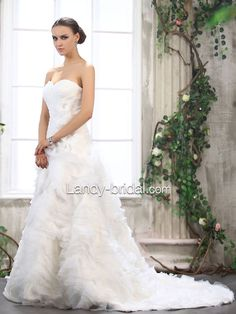 Drop Waist Sweetheart Chapel Train Tulle Ivory Wedding Dress