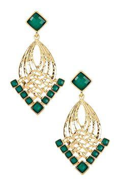 Gold & Green Chandelier Earrings.
