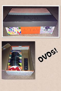 Easy DIY DVD storage!  I had too many DVDs to keep them in the case and, since I like to keep mine organized alphabetically, too many for CD binders (too hard to keep up with) I was stuck!  Using a shoebox, plastic left over from a package, card stock, duct tape, packaging tape, and a little bit of imagination this DVD box is easy peasy to make!  Use the plastic in the center as a divider to keep the DVDs from rolling.