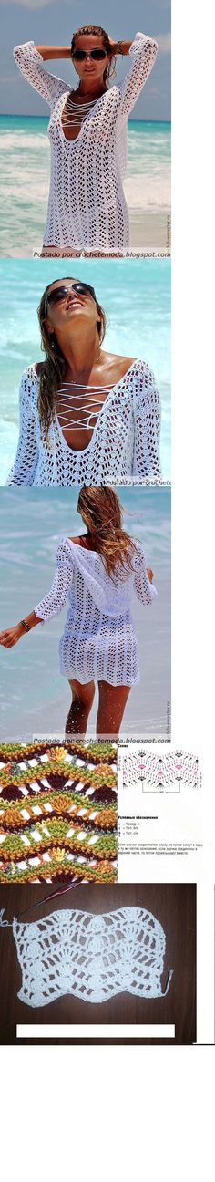 White Hoodie Beach Coverup free crochet graph pattern