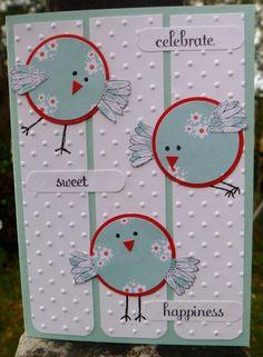 circle birds with flower petal wings...cute