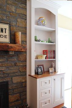 built-in bookshelve ideas - on both sides of the fireplace