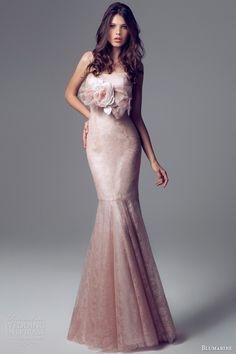 blumarine bridal 2014 lace marmaid gown flower accent waist straps