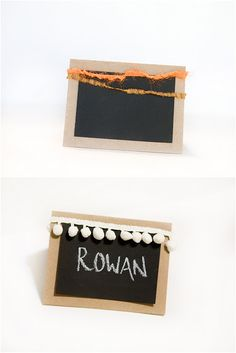 A simple Thanksgiving place card tutorial using chalkboard spray paint!
