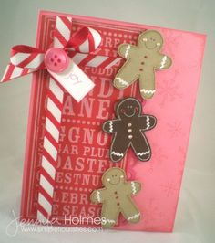 Card by Jennifer Holmes using Celebrate the Season Noteblock and Gingerman stamp.