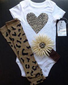 Cheetah Print Heart applique Baby Onesie by MyNextMilestone