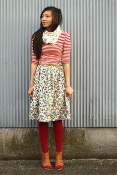 Stripes. Scarf. Floral skirt. Tights.