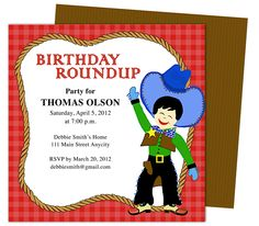 Kids Party : Cowboy Kids Birthday Party Invitation Template