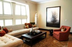 Captivating Decors for Beautiful Living Space : Awesome Living Room Decoration Idea With Dark Orange Sofa Color