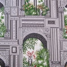 PHENOMENAL Exclusive New Vintage Schumacher Architectural Grisaille+Color Hand Printed Fabric - This is the most incredible fabric!