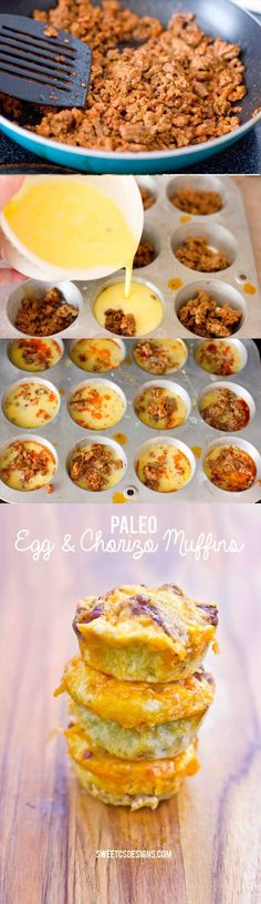 Paleo & Chorizo Muffins are a delicious, easy to make, great on the go breakfast you can make ahead, freeze and heat up for breakfast. Gluten free, low carb breakfast!