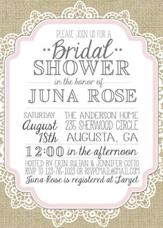 Burlap and Lace Vintage Bridal Shower/Baby Shower Inviation. $20.00, via Etsy.