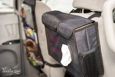 Pack one side with diapers, trash bags or laundry room essentials. Pull wipes, tissues or dryer sheets from the other side through the easy pull-through slot. Straps to a car seat headrest with a snap closure.