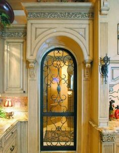 Wrought iron pantry door