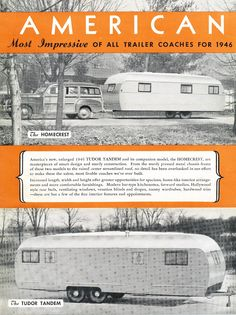 Vintage travel trailer brochure on American's 1946 Tudor Tandem and HomeStead models at Mobile Home Living! http://mobilehomeliving.org