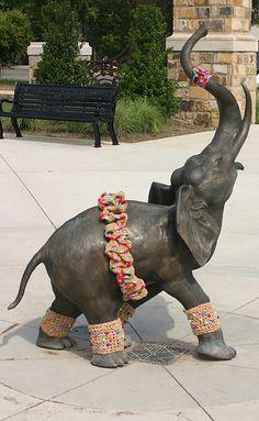 Ravelry: MsSunflwr's Miss Fancy    Yarn bomb by Donna Okoro  Avondale Park  Birmingham, Alabama