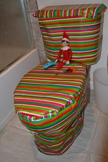 Wrapping the toilet in wrapping paper (or something else around the house)