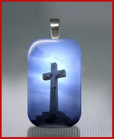 Good Friday Necklace Glass Tile Cross Crucifix