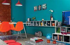 Sala de estar e de jantar: unidas, coloridas, descoladas - Casa