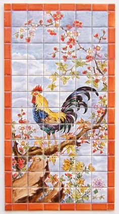 French Rooster - tiny-ceramics, real ceramic miniature tiles 1:12 scale; terra-cotta or glazed, hand painted, made to measure