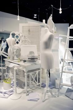 The Bay, Toronto - MMM Launch - store display.  Single-color or monochrome display pieces.