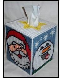 Happy Santa And Snowman Tissue Box Cover
