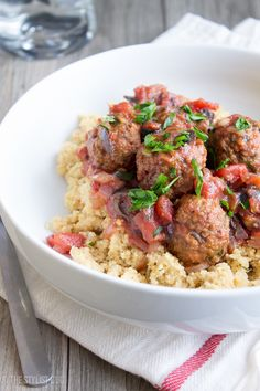 Moroccan Meatballs Over Couscous // The Stylist Quo-- wouldn't it be fantastic if it was veggie meatballs? I love Moroccan.