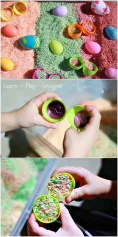 Easter egg sensory bin - perfect for boosting fine motor skills