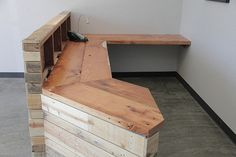 Reclaimed wood reception desk or retail cash wrap by BeniSalvati. , via Etsy.