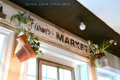 Rustic Farmers Market sign makes one cool window valance!  | Funky Junk Interiors