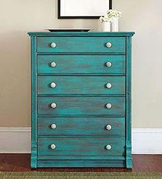 diy turquoise furniture, diy dresser knobs, vintage furniture painting, craft projects, vintage dresser makeover