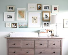"Use a dresser as a changing table. When the baby gets older, they can use it in their ""big kid"" room, or can be used somewhere else in the house."