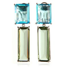 Charm & Chain | Blue Quartz & Green Amethyst Bar Earrings - Earrings - Jewelry