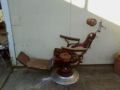 Barber Dentist : Antique Sterling Barber/Dentist Chair pre 50s