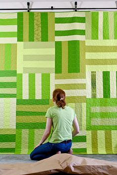Amy Hodge is a native Kentuckian transplanted to Northern California, who began her career as a scientist and now spends most of her days amidst fabric, thread, bobbins and needles. color combos, quilt patterns, green, inspir, modern quilt, hang quilt, big stripe, jean quilts