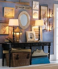gallery wall, paint color, large basket beneath console