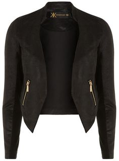 Kardashian Kollection PU cropped moto jacket -Dorothyperkins.com