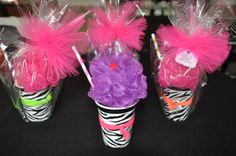 Unique Girls Spa Party Bath Puff Smoothie Favor filled with Nail Polish, Hair-tie, and Lip Gloss - Set of 4