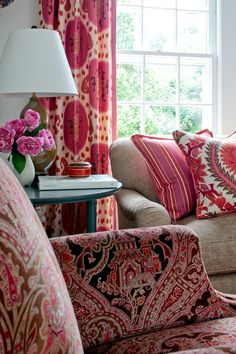Pink prints living room