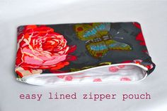 Easy lined zipper pouch tutorial